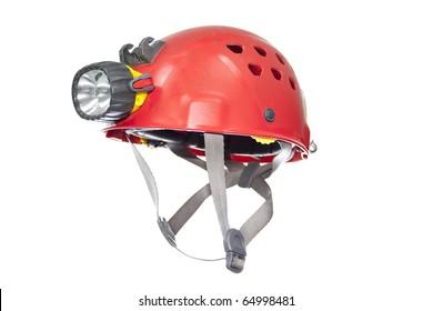 speleo helmet with head lamp isolated on white background