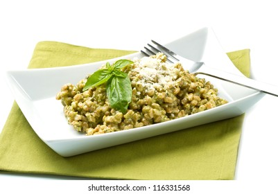 spelled salad with fresh pesto