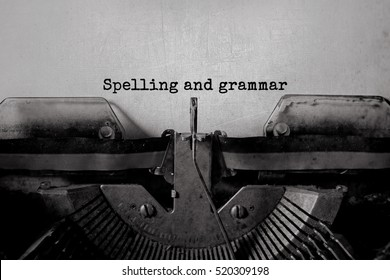 Spelling and grammar typed words on a Vintage Typewriter.