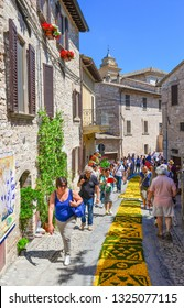 Spello, Italy - 7 June 2015 - The awesome medieval town in Umbria region, central Italy, during the floral competition after the famous Spello's intfiorate. Here a view of historic center with fisheye