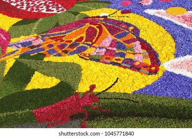 SPELLO, ITALY - JUNE 7: Floral Carpet on June 7, 2015 in Spello, Italy. This event takes place every year and every sector honors a specific artist or subject