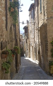 Spello (Perugia, Umbria, Italy) - Typical old street with potted flowers and plants