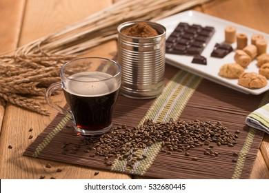 spelt coffee, grain and instant powder