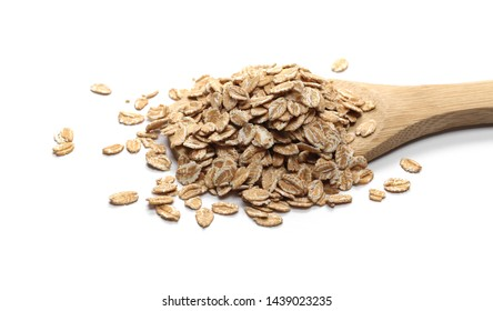 Spelta flakes, rye grain cereal for breakfast in wooden spoon isolated on white background