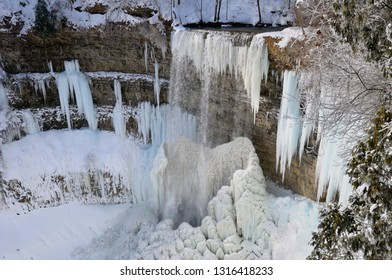 Spencer Gorge ice and snow at Tews Falls on Logies Creek Dundas Canada in winter