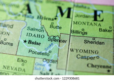 Spencer. USA on a geography map