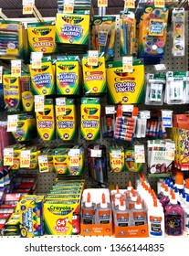Spencer, Wisconsin, April, 10, 2019   Several types of childrens school supplies on a modern store shelf