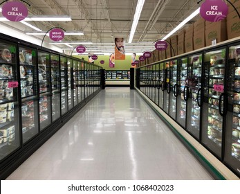 Spencer, Wisconsin, April, 14,  2018  Cooler Aisle in a modern Grocery Store