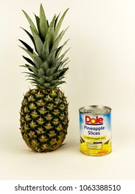 Spencer, Wisconsin, April, 7,  2018   Can of Dole Pineapple Slices   Dole is an American based company founded in 1851