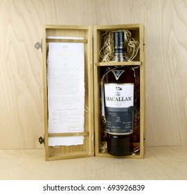 Spencer, Wisconsin, August, 10, 2016   Bottle of Macallan 21 year old Scotch Whisky   Macallan is produced in Craigellachie, Moray