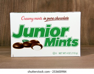SPENCER , WISCONSIN,  February, 17, 2015  Box of Junior Mints. Junior Mints were introduced in 1949 and is currently produced by Tootsie Roll Industries