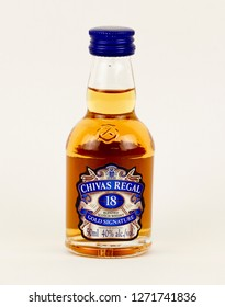 Spencer, Wisconsin, January, 1, 2019   Mini bottle of Chevas Regal 18 year old Scotch Whiskey  Chivas Regal is Blended Scotch Whisky produced by Chivas Brothers