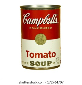 SPENCER , WISCONSIN - JANUARY 23, 2014 : can of Campbell's Tomato Soup. Campbell's is an american producer of canned soups and related products, it was founded in 1869