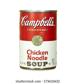 SPENCER , WISCONSIN - JANUARY 27, 2014 : can of Campbell's Chicken Noodle Soup. Campbell's is an american producer of canned soups and related products, it was founded in 1869