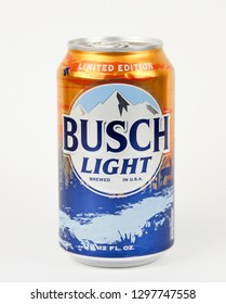 Spencer, Wisconsin, January, 27, 2019    Can of Busch Light Beer  Busch Light is produced by the Aheuser-Bush brewing company