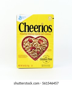 Spencer, Wisconsin, January,22,2016  Box of Cheerios Cereal   Cheerios is an American brand of cereal manufactured by General Mills
