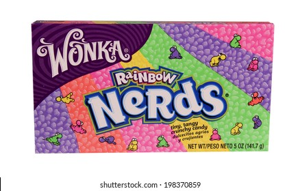 SPENCER , WISCONSIN June 12 , 2014:  box of Wonka Nerds Candy, Wonka is a UK brand of candy owned by Nestle