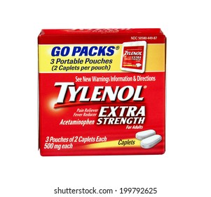 SPENCER , WISCONSIN June 20 , 2014:  box of Tylenol Extra Strength Pain Reliever. Tylenol is distributed by McNeil Consumer Products Company