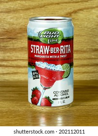 SPENCER , WISCONSIN June 29 , 2014:  can of Bud Light lime Straw-Ber- Rita. Bud Light is a product of Anheuser-Busch .