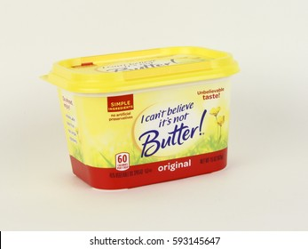 Spencer, Wisconsin, March, 5, , 2017   Tub of I can't believe it's not butter  I can't believe it's not butter was first introduced in America in 1981 as a butter alternative