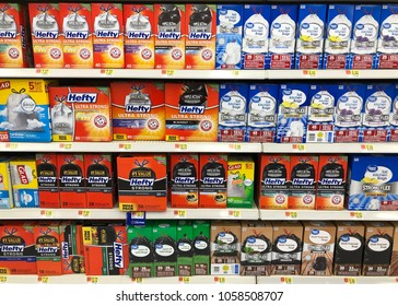 Spencer, Wisconsin, March,31, 2018   Several types Trash bags on a modern Grocery Store shelf