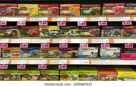 Spencer, Wisconsin, March,5, 2018   Several brands of Tea on a modern Grocery Store shelf
