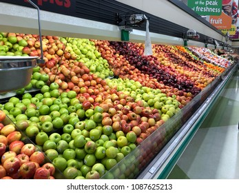 Spencer, Wisconsin, May, 10,  2018  Apples and fruit  in a modern Grocery Store