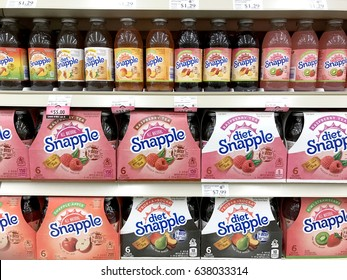 Spencer, Wisconsin, May, 11, 2017   Several bottles of Snapple beverages on a modern grocery store shelf   Snapple is a product of the Dr Pepper Snapple Group based in America