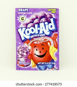 SPENCER , WISCONSIN, May, 12, 2015  Package of Grape Flavored Kool-Aid. Kool-Aid is now owned by Kraft Foods and was invented in 1927