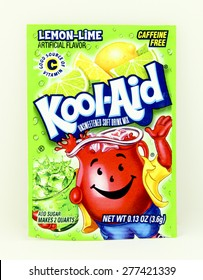 SPENCER , WISCONSIN, May, 12, 2015  Package of Lemon Lime  Flavored Kool-Aid. Kool-Aid is now owned by Kraft Foods and was invented in 1927