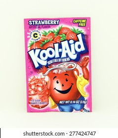 SPENCER , WISCONSIN, May, 12, 2015  Package of Strawberry Flavored Kool-Aid. Kool-Aid is now owned by Kraft Foods and was invented in 1927