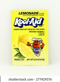 SPENCER , WISCONSIN, May, 12, 2015  Package of Lemonade Flavored Kool-Aid. Kool-Aid is now owned by Kraft Foods and was invented in 1927
