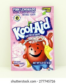 SPENCER , WISCONSIN, May, 13, 2015  Package of Pink Lemonade Flavored Kool-Aid. Kool-Aid is now owned by Kraft Foods and was invented in 1927