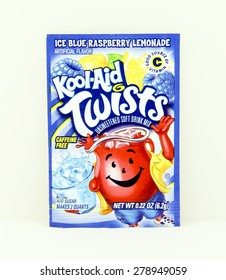 SPENCER , WISCONSIN, May, 18, 2015  Package of Ice Blue Raspberry Lemonade  Kool-Aid. Kool-Aid is now owned by Kraft Foods and was invented in 1927