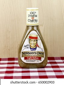 Spencer, Wisconsin, May, 30, 2017   Bottle of  Newman's Own Italian Dressing  Newman's Own is a food company founded by Paul Newman founded in 1982