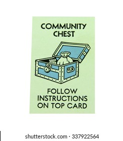 SPENCER , WISCONSIN, November, 11, 2015   Monopoly Board Game Community Chest  Square  Monopoly was first introduced by Parker Brothers in 1935