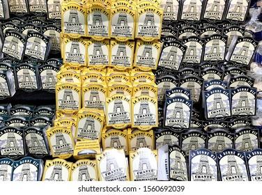 Spencer, Wisconsin, November, 13, 2019   Packages of Cheese spread in a Grocery Store cooler