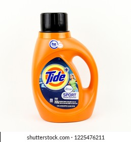 Spencer, Wisconsin, November, 9,  2018  Bottle of Tide Sport Laundry Detergent  Tide is owned by Procter and Gamble and was first introduced in 1946
