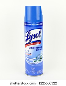 Spencer, Wisconsin, November, 9,  2018   Can of Lysol Disinfectant Spray  Lysol was first introduced in 1889 and it's parent company is Reckitt Benckiser