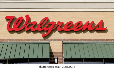 SPENCER , WISCONSIN Sept.13 , 2014:  Walgreens sign on the store front of the building. Walgreens is the largest Drug retailing chain in the United States.