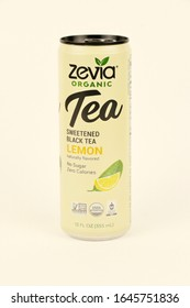 Spencer, Wisconsin, U.S.A. , February, 15, 2020  Can of Zevia Lemon Black Tea     Zevia is an American based company founded in 2007