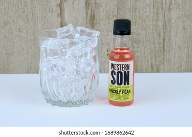 Spencer, Wisconsin, U.S.A. , March, 30, 2020     Bottle of Western Son Prickly Pear Vodka     Western Son is an American  made product