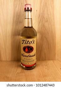 Spencer, Wisconsin,January,28,2018   Bottle of Tito's Handmade Vodka   Tito's is a handmade Vodka from Austin Texas