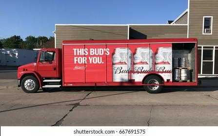Spencer, Wisconsin,June, 27,, 2017  Budweiser delivery truck delivering beer to a Tavern.