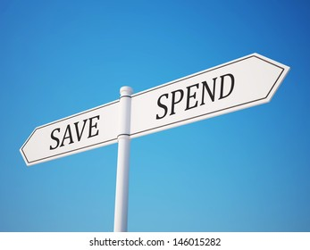 Spend and Save Signpost with Clipping Path