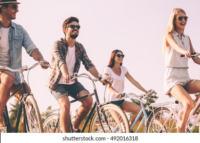 Spending carefree time with friends. Group of young people riding bicycles and looking happy