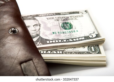 spending money in your wallet close up