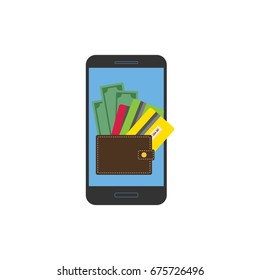 Spending, saving money. Dollar bills, card and wallet on smartphone screen. Cash, isolated on white.  Business concept. Flat design illustration.