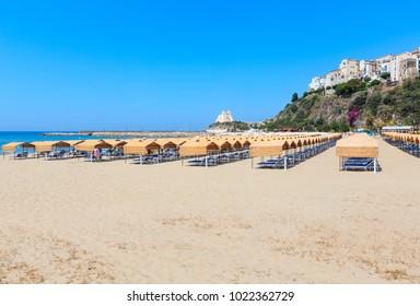 Sperlonga beach and Torre Truglia view, province of Latina, in Lazio, central Italy. People unrecognizable.