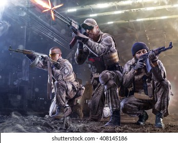 Spesial forces soldiers  attaks the enemy